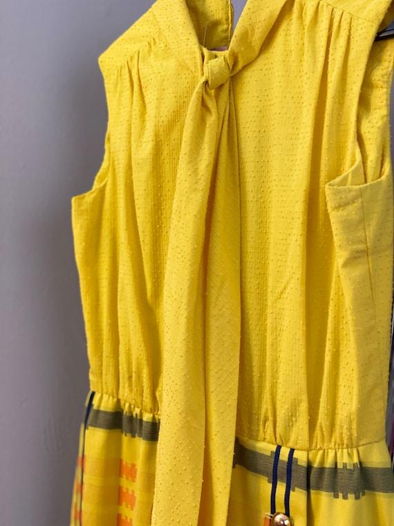 Vtg 60s Miss Elliette Bright Yellow Swiss Dot Attached Ascot Scarf Tie Maxi Dress S Metal Zip Mint Condition