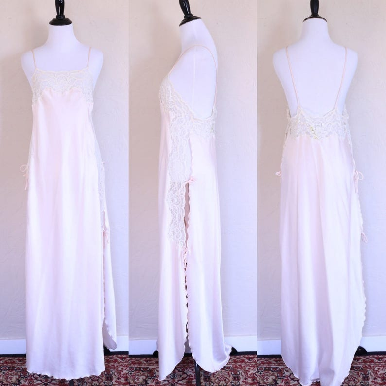 625416f5b5e Vtg Ethereal Dress Backless Dress Pink Negligee Sheer Lace