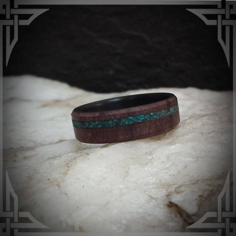 Any Occasion. Indian Rose and Ebony Wood inner core with a Chrysicolla Stone Inlay