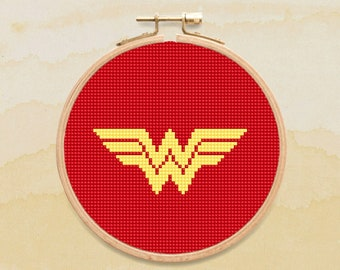 Wonder Woman Cross Stitch Pattern, Superhero Symbol Counted Cross Stitch Chart, Comics, Justice League, PDF Format, Instant Download