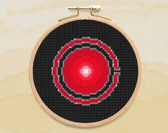 Victor Stone Cross Stitch Pattern, Superhero Symbol Counted Cross Stitch Chart, Cyborg, Justice League, PDF Format, Instant Download