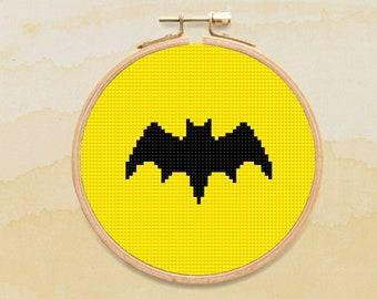 Batman Cross Stitch Pattern, Superhero Symbol Counted Cross Stitch Chart, Sign, Justice League, PDF Format, Instant Download