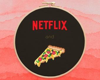 Netflix And Pizza Cross Stitch Pattern, TV Show Cross Stitch Design, Fun Decor Needlework, PDF Format, Instant Download