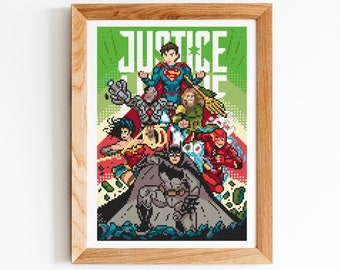 Justice League Cross Stitch Pattern, DC Comics Counted Cross Stitch Chart, Superheroes, PDF Format, Instant Download