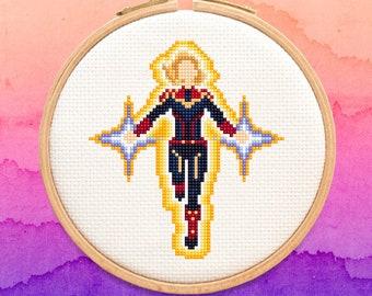 Captain Marvel Cross Stitch Pattern