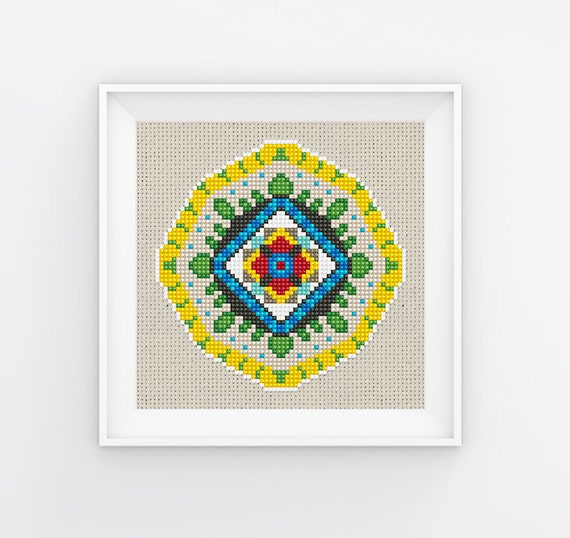 Modern Cross Stitch Pattern, Geometric Border Counted Easy Cross Stitch  Chart, PDF Format, Instant Download