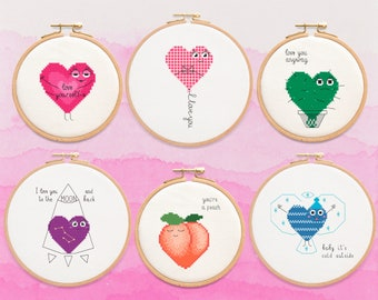 Little Hearts Cross Stitch Pattern Collection, 6 in 1, Valentine's Day Cross Design Set, PDF Format, Instant Download