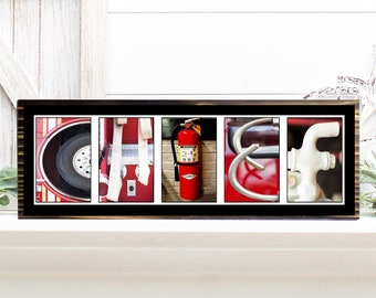 Fire Chief firefighter alphabet photography woof sign, Gift for Firefighter