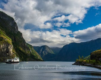 Fjords / Norway / Aurland / Aurlandsfjord and Ferry as seen from a cottage in Flam / Ferry / Wall Art / Travel Photography