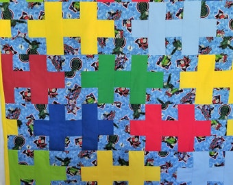Jiigsaw Puzzle Quilt with Thomas