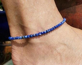 Lapis anklets,Stone anklets,Blue anklets,Men anklets,Women anklets,handmade