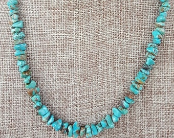Kingman Turquoise and Sterling Silver Necklace, Turquoise Nuggets and Sterling Silver Necklace, Kingman Turquoise Nugget Necklace, Turquoise