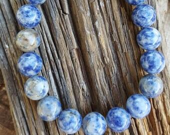 "8"" 10mm Shiny Stretch Sodalite Bracelet, Stretch Denim Lapis Bracelet, Stretch Sodalite Shiny Bracelet, Blue Bracelet, Sodalite Bracelet"