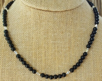 Small Black Onyx and Sterling Silver Necklace, Small Onyx and Sterling Silver Necklace, Onyx and Swarovski Crystal Beaded Necklace, Onyx
