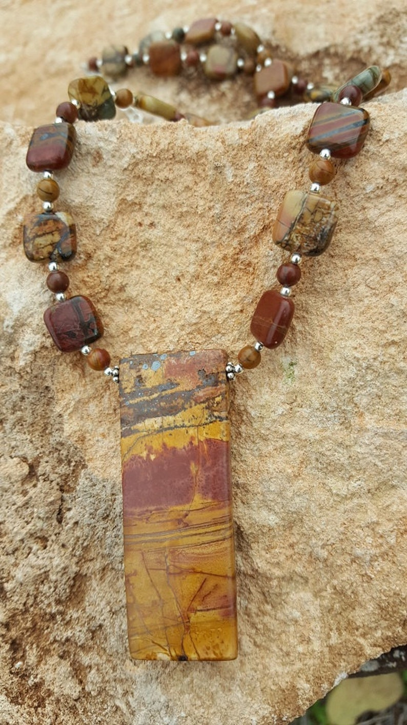 Red Creek Jasper and Sterling Silver Necklace with Rectangle Drop Square Red Creek Jasper Red Creek Jasper and Sterling Silver Necklace
