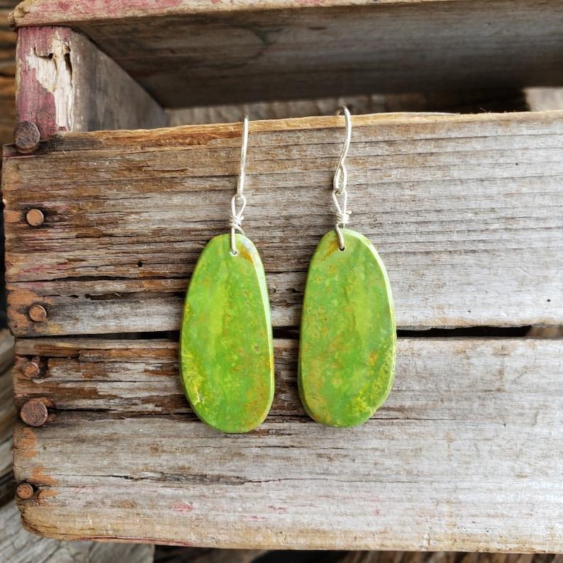 Sterling Silver Green Mojave Turquoise Stud Earrings,Green Gemstone Jewelry