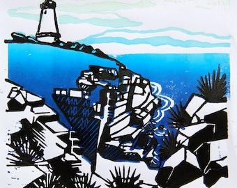 Linocut landscape print: Cape Willoughby, Kangaroo Island, South Australia