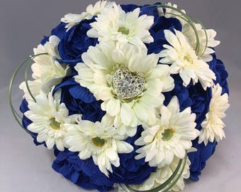 Royal blue bouquet etsy royal blue ivory peonies gerberas artificial wedding flowers bridesmaid bouquet beargrass brooch diamante hessian lace bow silk foam flowers mightylinksfo
