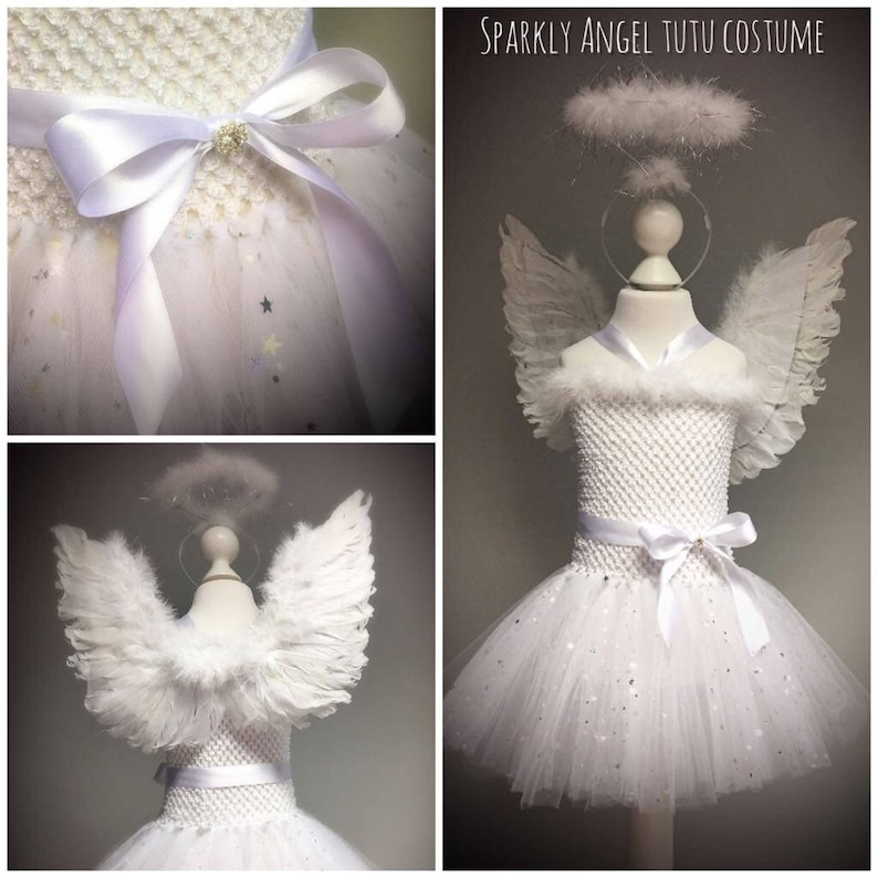 Angel sparkly Christmas tutu crochet white dress tulle skirt halo wings dressing up photo shoot christmas party family photo nativity party