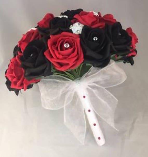WEDDING FLOWERS ARTIFICIAL RED IVORY FOAM ROSE WEDDING BRIDES BOUQUET POSIE