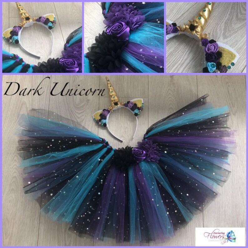 6552e42ff5380 Dark Unicorn tutu tulle skirt headband ears horn headset fancy   Etsy