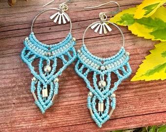 Blue Bohemian Earrings Statement Earrings Dangle Earrings Macrame Jewelry Hippie Earrings Micro Macrame Marquise Macrame Earrings