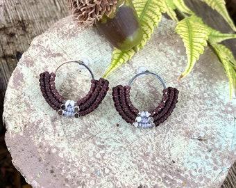 Macrame Studs, Macrame Stud Earrings, Macrame Bohemian Jewelry, Micro Macrame Jewelry, Hippie Earrings, Brown Grey Stud Earrings, Hoop Studs