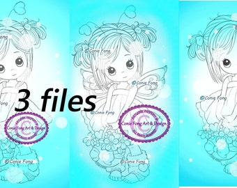 Digital Stamp, Digi Stamp, digistamp, 3 images by Conie Fong, Girl, Fairy, fantasy, basket, flowers, coloring page