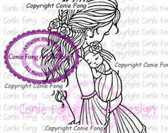 Digital Stamp, Digi Stamp, digistamp, Mother and Baby Girl by Conie Fong, coloring page