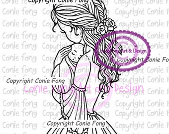 Digital Stamp, Digi Stamp, digistamp, Mother and Baby Boy by Conie Fong, mom, coloring page