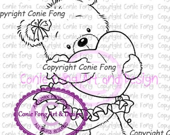 Digital Stamp, Digi Stamp, Digistamp, Bella by Conie Fong, Coloring Page, Teddy Bear, Love, Valentines, Heart, Mother's Day, Birthday