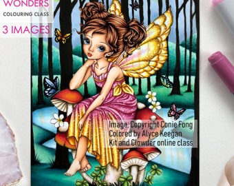 Digital Stamp, Digi Stamp, digistamp, Sitting Pretty on Mushroom by Conie Fong, Girl, Fairy, fantasy, butterfly, coloring page