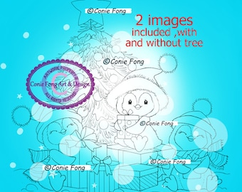 Digital Stamp, Digi Stamp, Digistamp, Christmas Joy by Conie Fong, Coloring Page, Tree, Penguin, presents, birthday, boy, girl