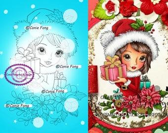 Digital Stamp, Digi Stamp, digistamp, Noelle's Gift by Conie Fong, Christmas, poinsettia, gift, present, girl, santa hat, mistletoe