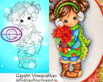 Digital Stamp, Digi Stamp, digistamp,  Holly Poinsettia by Conie Fong, Christmas,  girl, poinsettia, flowers, coloring page, children