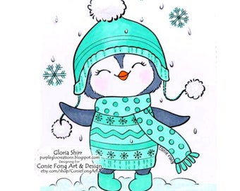 Digital Stamp, Digi Stamp, Digistamp, Snowy the Penguin - Let It Snow by Conie Fong, Christmas, snowflake, coloring page