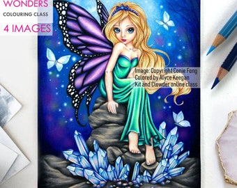 Digital Stamp, Digi Stamp, digistamp, Crystal Fairy by Conie Fong, Girl, Fairy, fantasy, coloring page