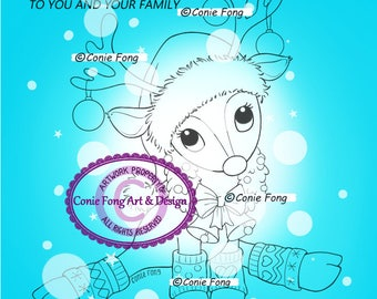 SALE-Digital Stamp, Digi Stamp, Digistamp, Reindeer Wreath and Sentiment by Conie Fong, Christmas, bauble, coloring page
