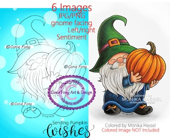 SALE Digital Stamp, Digi Stamp, digistamp, Pumpkin Gnome and Sentiment Bundle by Conie Fong, Thanksgiving, Halloween, autumn, fall, birthday