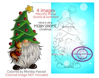 SALE Digital Stamp, Digi Stamp, digistamp, Christmas Tree Gnome and sentiment by Conie Fong, squirrel, coloring page