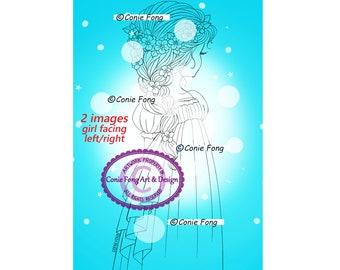 Digital Stamp, Digi Stamp, Digistamp, Conie Fong, flowers, braids, Coloring Page, birthday, sweet sixteen, girl, dress, friendship