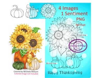 SALE Digital Stamp, Digi Stamp, digistamp,(PNG FORMAT) Sunflower Pumpkin Bundle, Conie Fong, birthday, Halloween, Thanksgiving coloring page