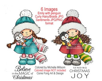 Digital stamp, digi stamp, digistamp, Emily With Penguin And Sentiment Bundle Conie Fong, Birthday, Christmas, girl, thinking of you