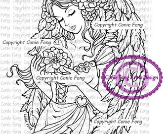 digital stamp, digi stamp, digistamp, Angel of Christmas Stars by Conie Fong, Angel, Christmas, Girl, scrapbooking, coloring page