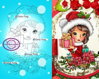 Digital Stamp, Digi Stamp, digistamp, Noelle's Gift by Conie Fong, Christmas, poinsettia, gift, present, girl, santa hat, mistletoe