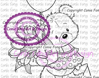 Digital Stamp, Digi Stamp, digistamp, Conie Fong, Coloring Page, Birthday, Teddy Bear, Valentines, Mother's Day, Get Well