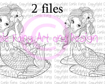 Digital Stamp, Digi Stamp, digistamp, Liliana Mermaid by Conie Fong, Coloring Page, mermaid, girl, fantasy, flower, waterlily