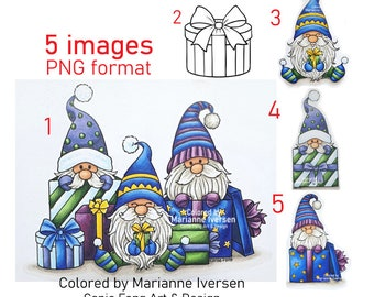 SALE Digital Stamp, Digi Stamp, digistamp, Christmas Gnomes  Bundle (5 images PNG format) by Conie Fong, birthday,  presents , coloring page
