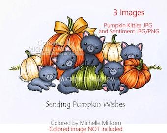 Digital Stamp, Digi Stamp, Digistamp, Pumpkin Kitties and Sentiment by Conie Fong, cat, kitty, kitties, fall, autumn, Halloween, birthday