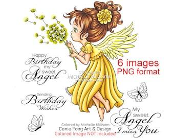 Digital stamp, digi stamp, digistamp, Angel Whispers Bundle by Conie Fong, Birthday, Thinking of You, Dandelion, Sympathy, Sentiment